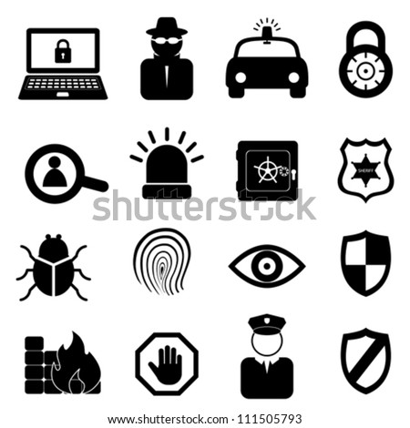 security icon set on white