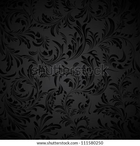 black seamless floral pattern