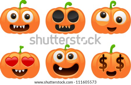 vector halloween pumpkin set 1