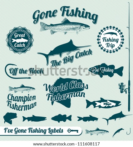 vector set  vintage fishing