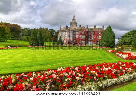 adare gardens and castle in red