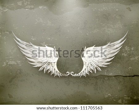 wings white  old style vector