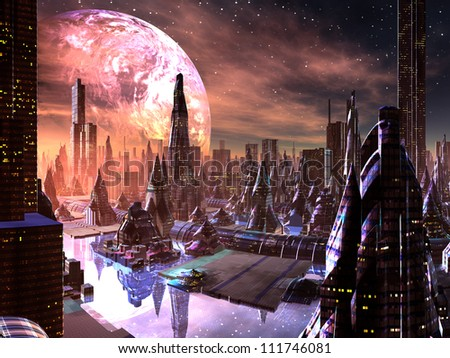 view of futuristic city on