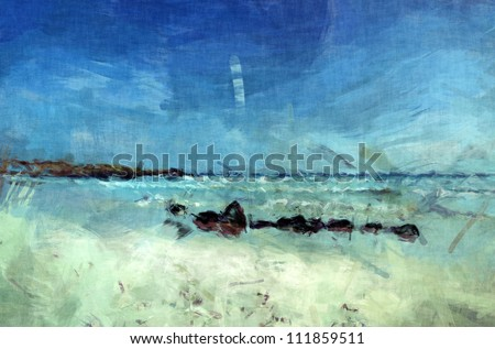 galapagos beach painting