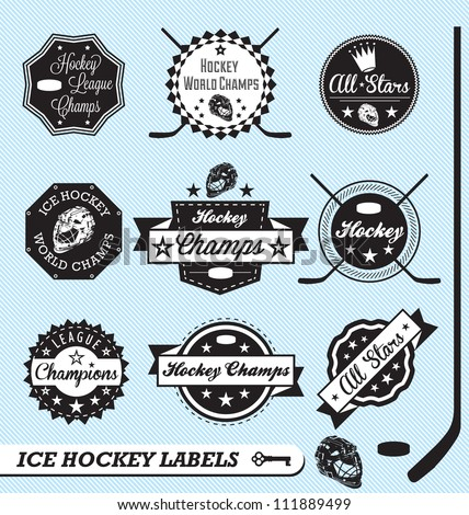 vector set  ice hockey labels
