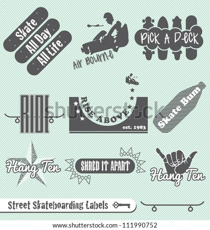 vector set  skateboard and