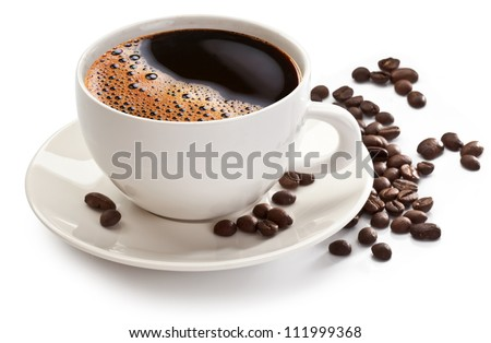 coffee cup and beans on a white
