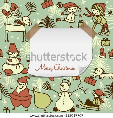cartoon christmas pattern with