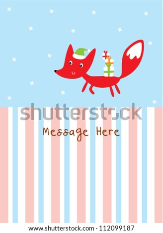 cute fox in christmas day