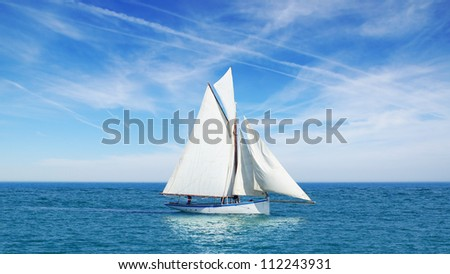 seascape with sailboat the