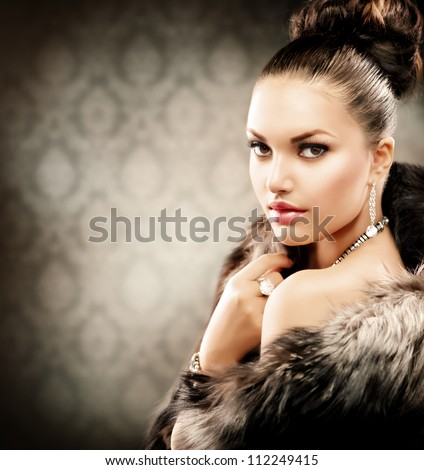 beautiful woman in luxury fur