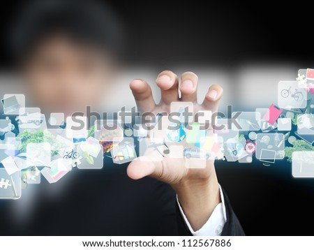 businessman holding virtual