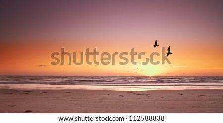 a photo of beach sunset and sea
