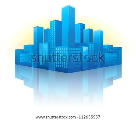 illustration of blue buildings