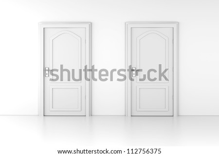 two doors in a empty room 3d