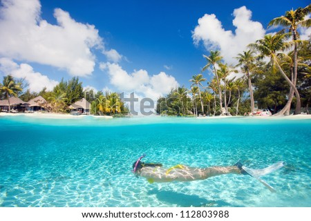 woman swimming underwater in