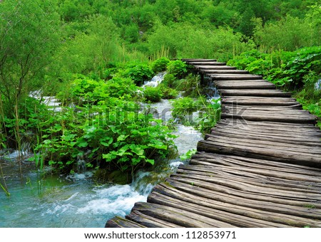 wooden path and waterfall in