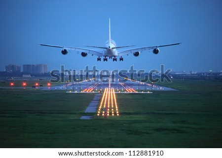 passenger plane fly up over