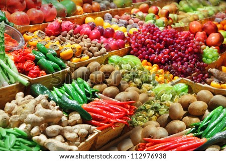 fruits and vegetables at a