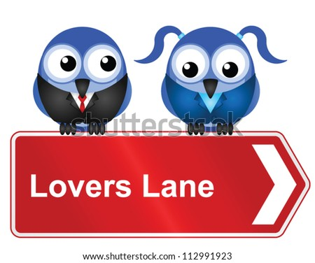 comical lovers lane sign