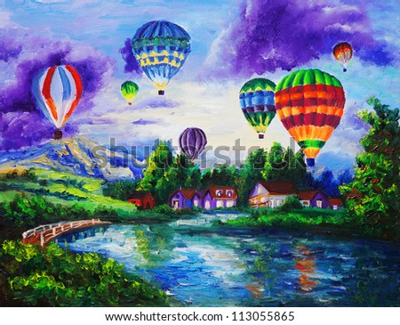 oil painting   fire balloon