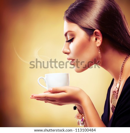 coffee beautiful girl drinking