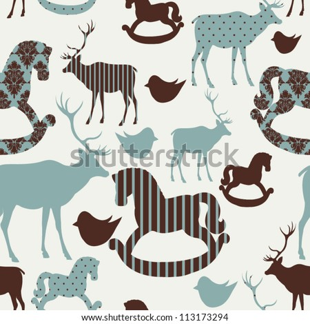 pattern with deers and rocking