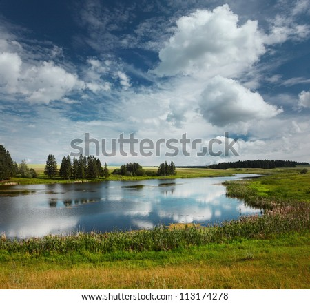 summer river with green meadows