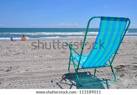 beach chair by the sea shore