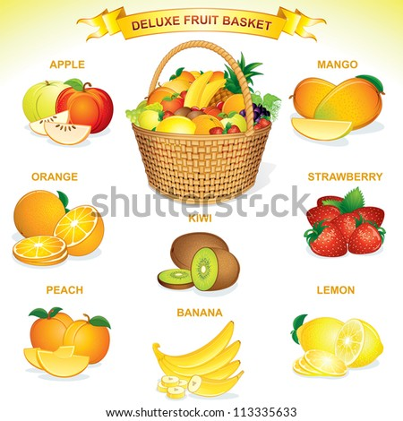 deluxe fruit basket vector