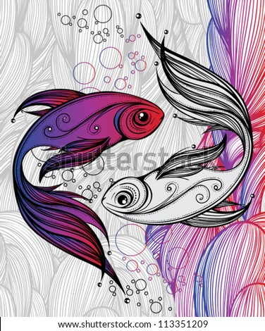abstract colorful fish on the