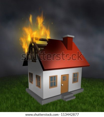 house fire and burning home