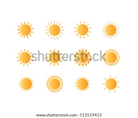 set of sun vector
