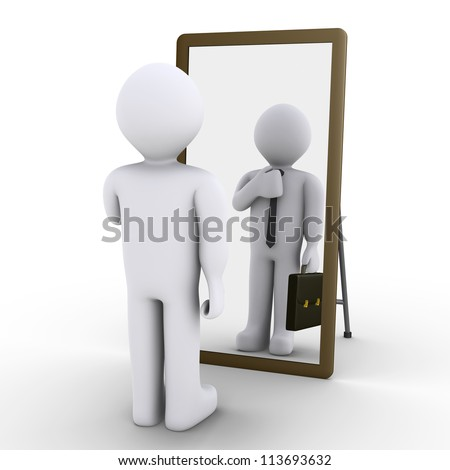 3d person looking at mirror and