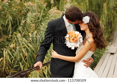 young wedding couple  beautiful