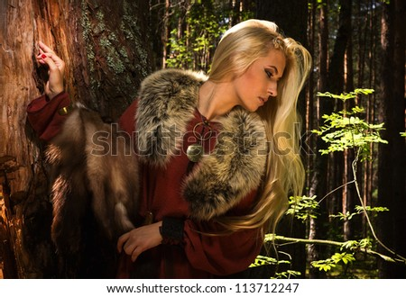 scandinavian girl with fur