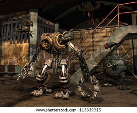 rendering steampunk machine in