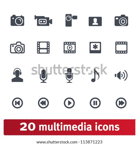 multimedia icons  photo  video
