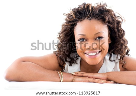 beautiful black woman smiling