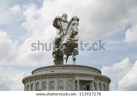 a large statue of genghis khan