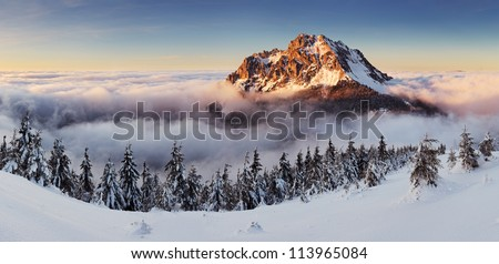 mountain peak at winter