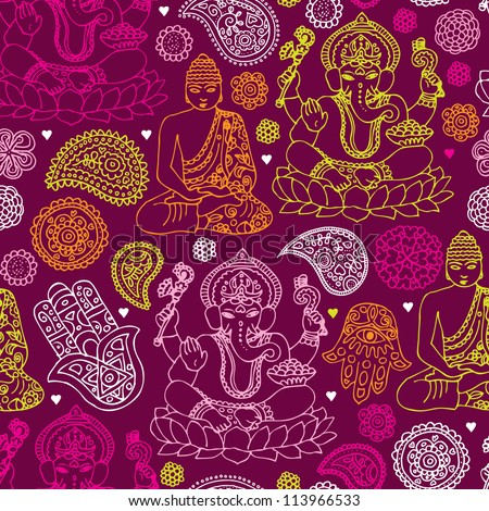 Vector download seamless buddha india yoga background pattern in