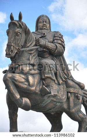 genghis khan on horse bronze