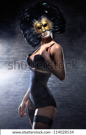young attractive woman in mask