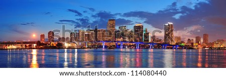 miami city skyline panorama at