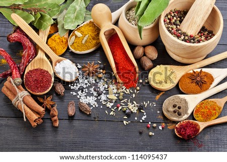 powder spices on spoons in