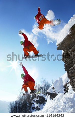 the whole jump of snowboarder