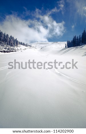 slope on the skiing resort  in
