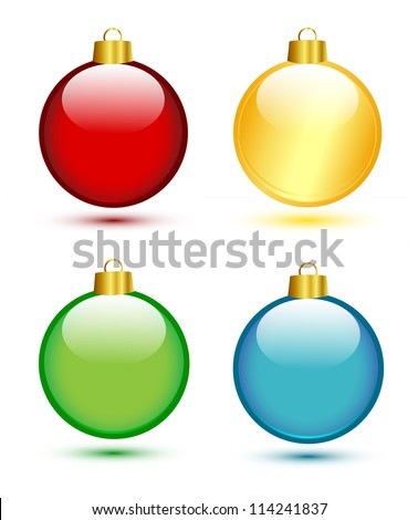 christmas balls on white  red