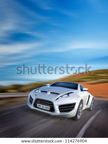 sports car moving on the road